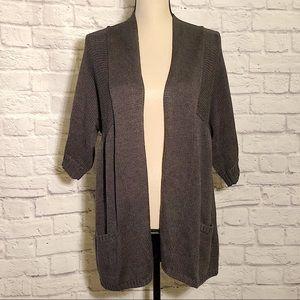 DAISY FUENTES Charcoal Short Sleeve Sweater Cardi